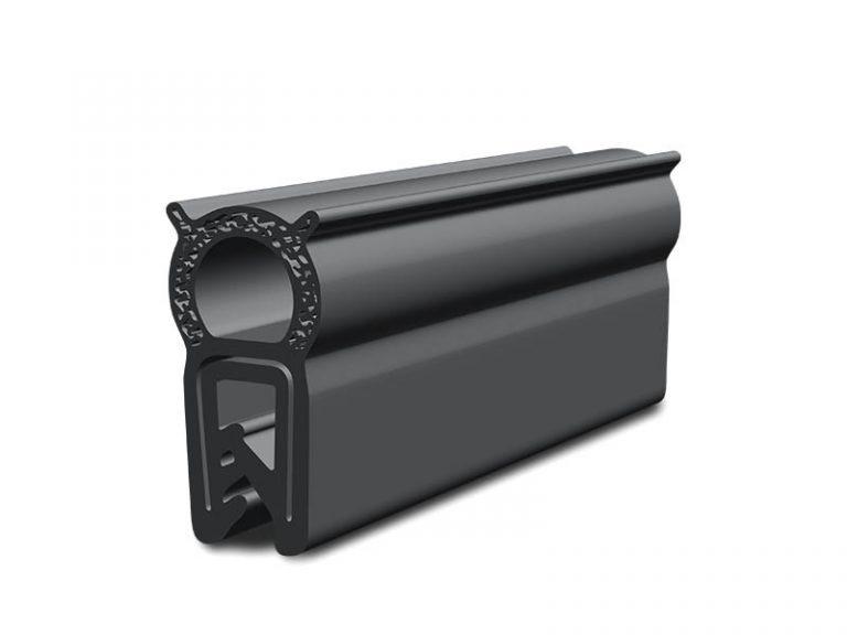 Black sponge rubber gasket (EPDM). Compression. Edge protection.
