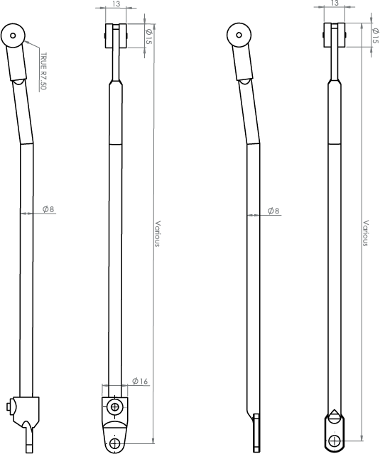 Roller Rods - Stainless Steel - Drawing